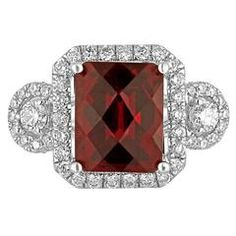 Garnet Diamond Halo 18K White Gold Ring | From a unique collection of vintage cocktail rings at https://www.1stdibs.com/jewelry/rings/cocktail-rings/