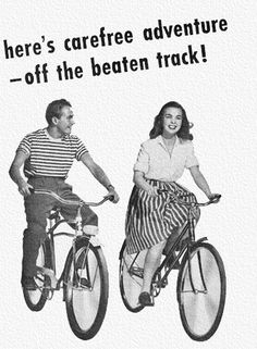 Carefree Adventure - detail from 1946 Columbia bicycle ad.