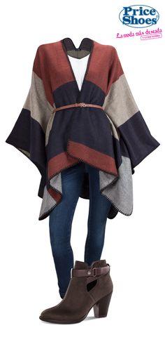 Para este entretiempo y los cambios de clima el poncho es una prenda básica y versátil que  hará lucir Nice Look. #ModaqueAbrigaPS #PonchoPS #Moda2016