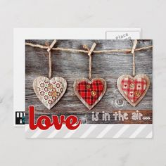 Shop Rustic Craft Hearts Valentine's Day Postcards created by artofmairin. Valentines Day Food, Easy Valentine Crafts, Valentines Day Greetings, Valentine Day Wreaths, Valentines Day Decorations, Valentine Gifts, Diy Valentine's Day Decorations, Baptism Decorations, Rustic Crafts
