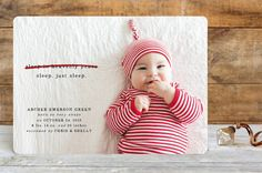 """One of the cutest Christmas/Birth announcement I've seen . . . """"Just Sleep. Holiday Birth Announcements"""""""