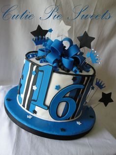 Perfect cake for Cotey's Bday....Black & Blue 16th Birthday Cake