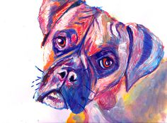 This beautiful Boxer Dog with an expression that the majority of dog owners will recognise , is ready to add a splash of color to any room you hang