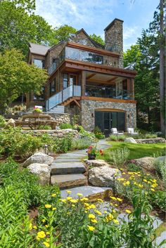 Pinecliff - landscape bonin architects in nh residential. Architecture Résidentielle, Modern Residential Architecture, Hillside House, Dream House Exterior, Rustic Gardens, Stone Houses, Stone Cottages, Modern House Design, Modern House Plans