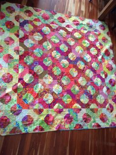 """Kaffe Fassett  quilt """"Bow Ties"""" in beautiful reds and greens The Quilter's House 2012 (SP)"""