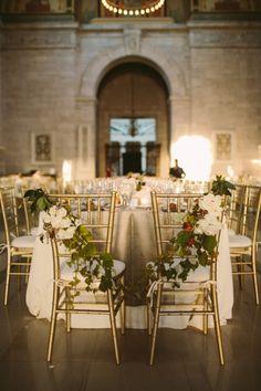 Gilded reception: http://www.stylemepretty.com/michigan-weddings/detroit/2015/04/21/elegant-gold-infused-detroit-art-museum-wedding/ | Photography: Jill Devries - http://www.jilldevries.net/