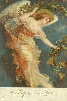 Tuck Ellen Clapsaddle Classic Christmas Angel with Holly Garland and Bells | eBay