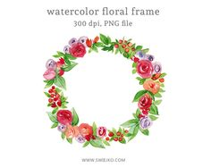 Digital Floral Frame, Hand painted with Watercolor  Perfect as a banner for your blog, graphic for wedding invitations, greeting cards and much