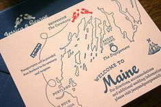 Oh So Beautiful Paper: Jessica + George's Travel-Inspired Maine Wedding Invitations