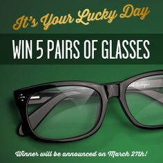 "Feelin' lucky enough to win 5 pairs of glasses? Visit our Facebook page: on.fb.me/RKoStC and click on our Pinterest tab! Fill out the submission form and re-pin all your favourite frames from our ""It's Your Lucky Day"" board. Once you're done, stay tuned on March 27th for the announcement of our winner! Free Glasses, Lucky Day, Good Job, Submission, Stay Tuned, Announcement, Fill, Frames, March"