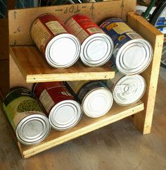 Can Rack Easy to make and customize to your cabinet! with one side removed