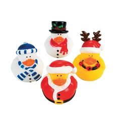 Holiday Rubber Duckies. Not your everyday rubber quacker, these vinyl duckies are all dressed up as Santas, reindeer and snowmen for the holidays! Use them as Christmas stocking stuffers and Christmas party favors and remember to put a few in the guest bathroom to amuse your holiday guests.
