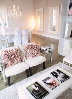 I like the simplicity of this room, the chandelier.  Great Idea to use to large mirrors on one wall