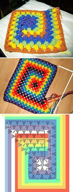 {} A rainbow crochet blanket. Spiral granny--stitch chart