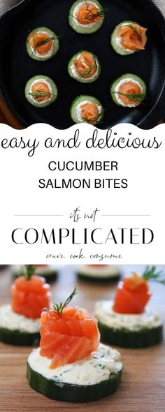 It doesn't get any easier than these Cucumber Salmon Bites. These little appetisers are as delicious as they are pretty. Slices of crispy, crunchy, refreshing cucumber are topped with a lemon and dill cream cheese mixture and slices of smoky salmon.#cucumbersalmonbites #fingerfood #easyappetisers #cravecookconsume #itsnotcomplicatedrecipes Best Appetizer Recipes, Yummy Appetizers, Gourmet Recipes, Cooking Recipes, Delicious Recipes, Cucumber Bites, Cucumber Recipes, Recipe Using Cucumbers, Fish Recipes For Kids