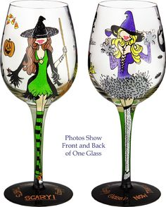 Bottom's Up Hallowine Handpainted Wine Glass ~ Each 15-ounce Glass is Presented in a Distinctive Gift Box