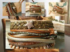 Wickelarmbänder - Armband ★ Stern ★ Lederband oliv braun Tibet Achat - ein Designerstück von charm_one bei DaWanda