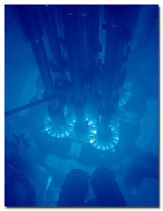 A picture of a nuclear reactor emitting Cherenkov radiation. One of my favorite phenomena