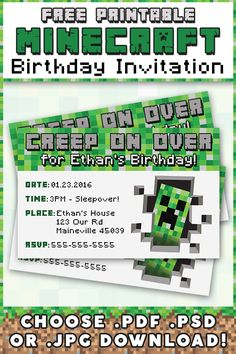 Minecraft Invitation { Free Printable } Choose PDF, PSD, or JPG