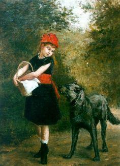 Albert Roosenboom. устной традиции сказки о Красной Шапочке волк был не просто зверем, а оборотнем, вервольфом. Именно отсюда — его умение говорить человеческим голосом и удачные попытки замаскироваться под бабушку. В «народной» сказке девочка сначала встречает волка в человеческом теле — и поэтому не испытывает страха.