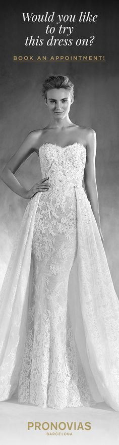 Try on the Edith dress with an ideal overskirt at a store near you! #AtelierPronovias2018
