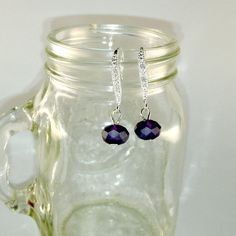 Sparkles and Frost- handmade earrings, drops, dangles, sterling silver, dainty