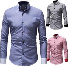 2f69a5b3b4c8 Men Casual Fashion Long Sleeve Stripe Shirt