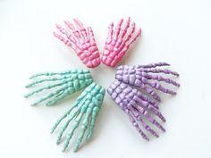 pastel skeleton hand hair clips