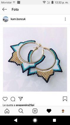 Beaded Earrings Patterns, Jewelry Patterns, Bead Earrings, Jewelry Art, Beaded Jewelry, Beaded Bracelets, Brick Stitch, Beading Tutorials, Bead Art