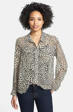 769a48ac711a5d Two by Vince Camuto Leopard Print Utility Shirt available at #Nordstrom Animal  Print Blouse,