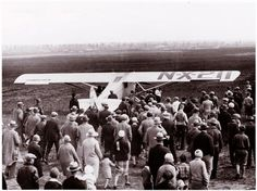 On May 21, 1927 Charles Lindbergh touches down at Le Bourget Field in Paris, completing the world's first solo nonstop flight across the Atlantic Ocean. Here he is taking off.