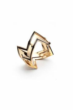 House of Harlow 1960 14KT Gold Three Stack Ring in Black    $70.00
