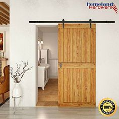 8 FT Sliding Barn Door Hardware (Black) (1 x 8 foot Rail) Detailed Manual & Step-by-Step Video Included - 100%