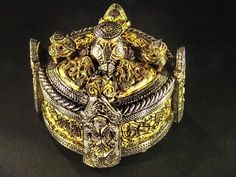 Viking box brooch from hoard find in Gotland, Sweden 10th century CE (?) Bronze Gold and Silver
