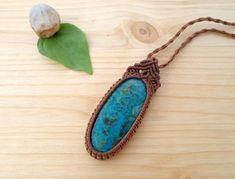 Chrysocolla macrame pendant macrame jewelry hippie pendant
