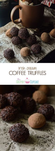 Irish Cream Coffee Truffles - Only 5 ingredients & you can be popping these bites of chocolate & coffee-loving heaven, spiked with Irish cream, in no time! Chocolate Bonbon, Chocolate Coffee, Chocolate Truffles, Chocolate Desserts, White Chocolate, Chocolate Brownies, Chocolate Covered, Chocolate Liqueur, Chocolate Sprinkles