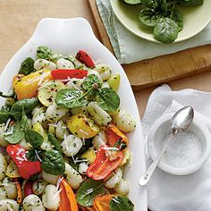 Roasted Vegetable Gnocchi with Spinach-Herb Pesto | MyRecipes.com