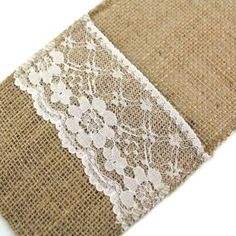 DIS Pack of 50 Happy time Burlap &Lace Rustic Cutlery Knives and Forks Holders, 4x8 Inch