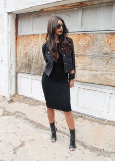 26 Great Fall Outfits: Ideas To Try Already This Autumn/Winter Season: Woman on the sidewalk wearing a black dress, black jacket and black leather peep-toe boots