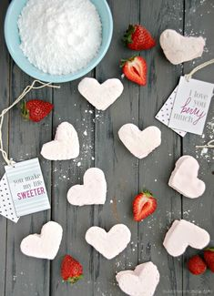 Homemade Fresh Strawberry Marshmallows with Valentine Tags.  I made these on Valentines Day.  Kayley's recipe was written so well.  They turned out perfect.  I dipped them in some really good quality chocolate and they were delicious!