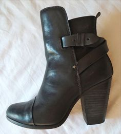 ~ RAG & BONE BLACK LEATHER KINSEY ANKLE BOOTS / BOOTIES (CELEB FAVE!)~ 37 #RAGBONE #BOOTS