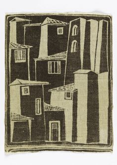 Single repeat with buildings, printed in brown with many reserve areas, on unbleached linen ground. Navajo Weaving, Weaving Art, Tapestry Weaving, Textiles, Swedish Weaving Patterns, Loom Patterns, Inkle Loom, House Quilts, Hello Kitty Wallpaper