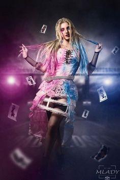 Suicide squad Harley quinn wedding dresses pink blue