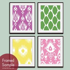 Ikat Patterns (Series A) -Set of 4 - 11x14 Prints - Featured in Lilac Pink, Apple Green, Bubble Gum and Canary