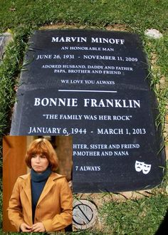 Bonnie Gail Franklin(January 6, 1944 – March 1, 2013) was an American actress, known for her leading role in thetelevision seriesOne Day at a Time(1975–1984).On September 24, 2012, a family spokesman announced that Franklin hadpancreatic cancerand was undergoing treatment. Franklin died at age 69, on March 1, 2013, at her home in the Los Angeles Area. Cemetery Headstones, Old Cemeteries, Cemetery Art, Graveyards, In Memorian, Grave Monuments, Famous Tombstones, Spooky Places, Celebrity Deaths