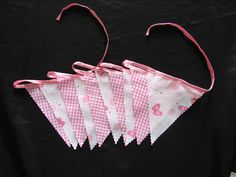 3 meters butterflys and small pink check  nursery bunting birthday gift