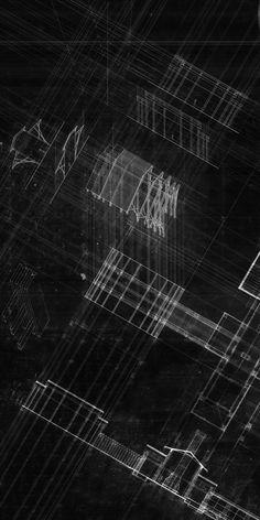 "Matthew Duncan, Bath House Construction, 2015, Pencil, Drafting Pen, Trace Paper, Photoshop, 24"" x 48"""