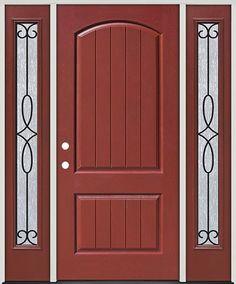 Rustic Pre Finished Mahogany Fiberglass Prehung Door Unit With Sidelites