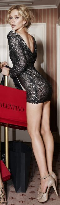 Long legs in a Valentino mini dress and high heels. #legs #heels    ★•.•тнε ℓιттℓε вℓαcк ∂яεss•.•★
