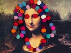 """Quadro da exposição """"Quadro a quadro: Cem monas"""", de Nelson Leirner, faz paródia da Mona Lisa"""